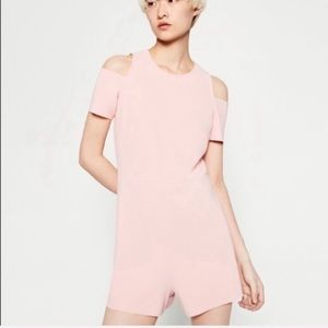 Zara cut off shoulder pink jumpsuit
